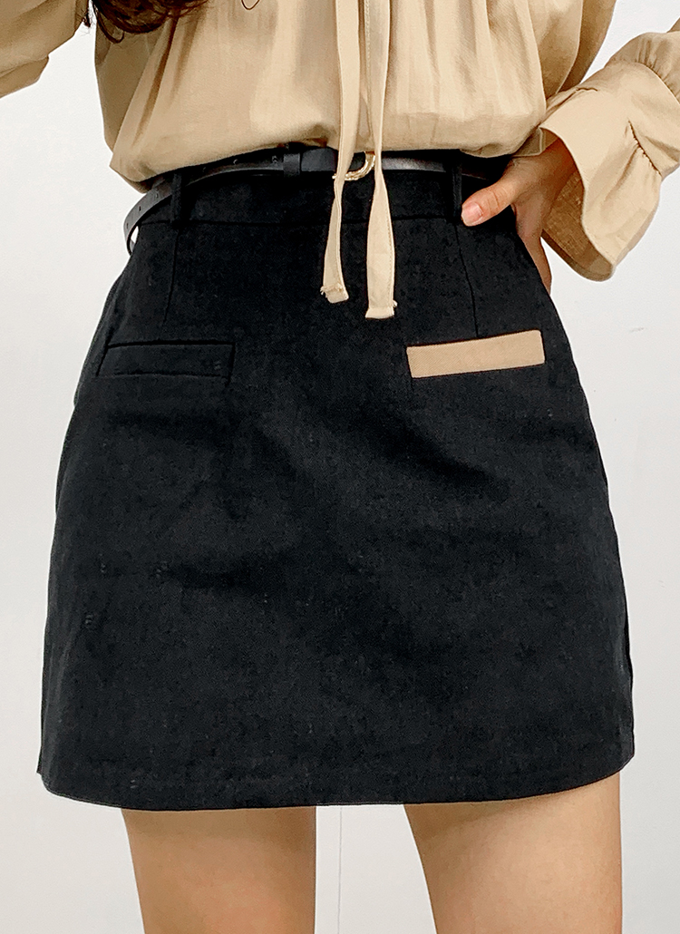 ベルト付バックゴム配色スカートパンツ