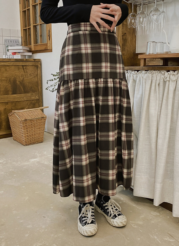 チェックギャザーラインロングスカート