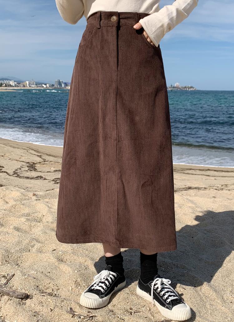 コーデュロイロングAラインスカート