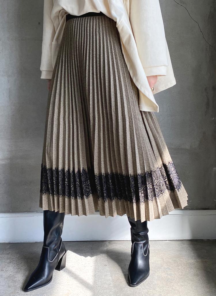 ヘリンボーンレースラインスカート・全2色
