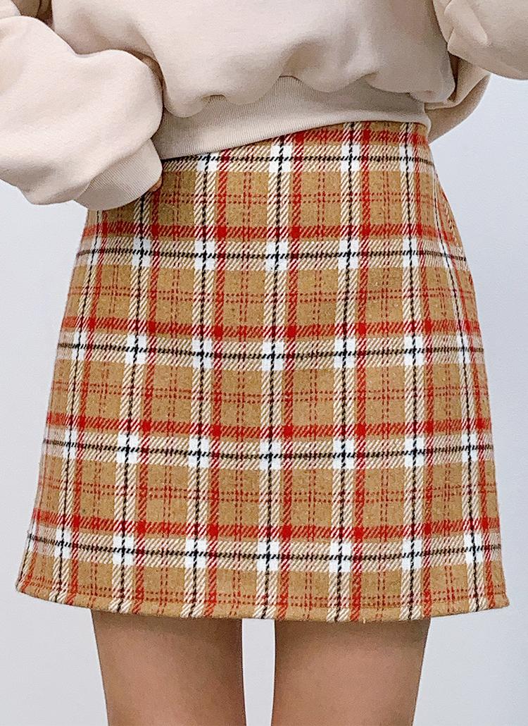 バックゴムチェック柄スカート