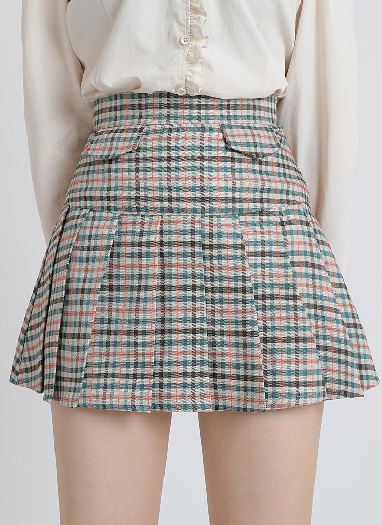 チェックプリーツスカートパンツ(オレンジ)