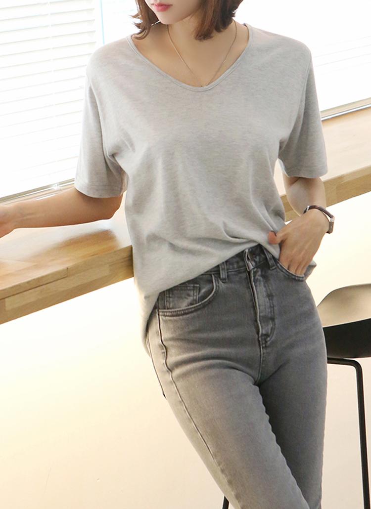 アンゴラ混半袖Tシャツ