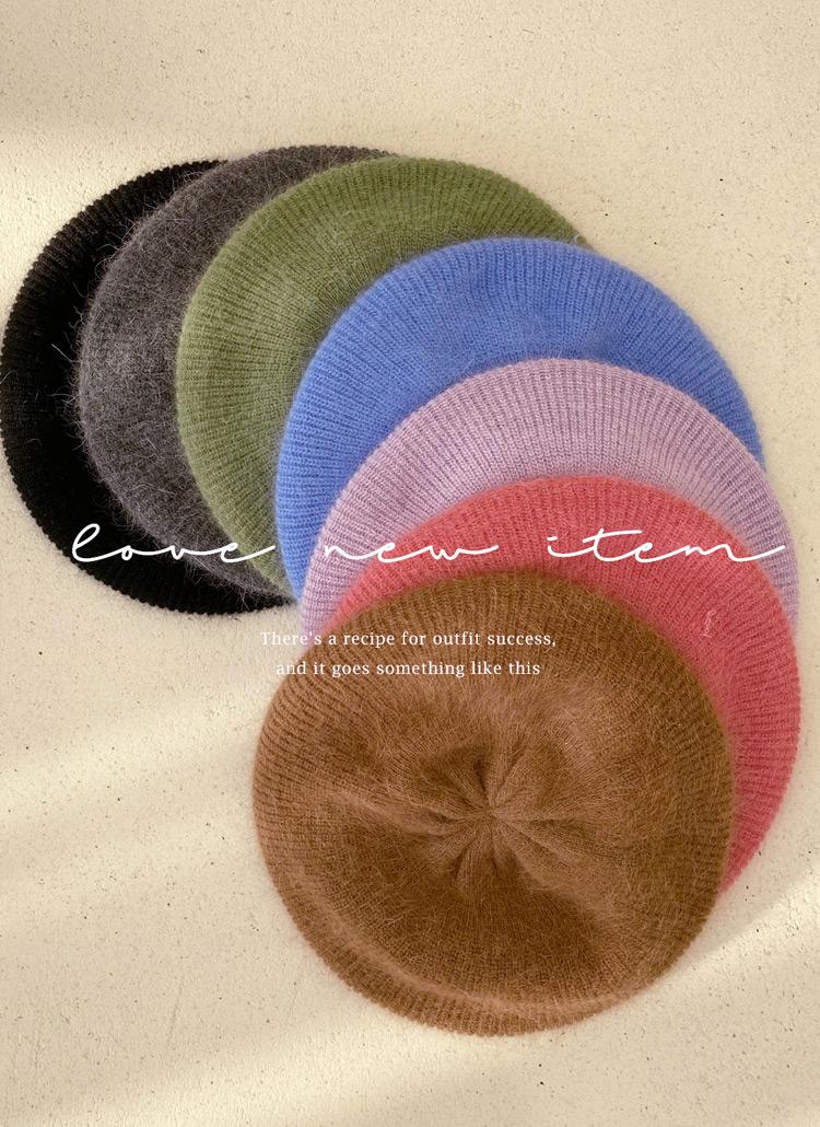 アンゴラ混ベレー帽・全7色