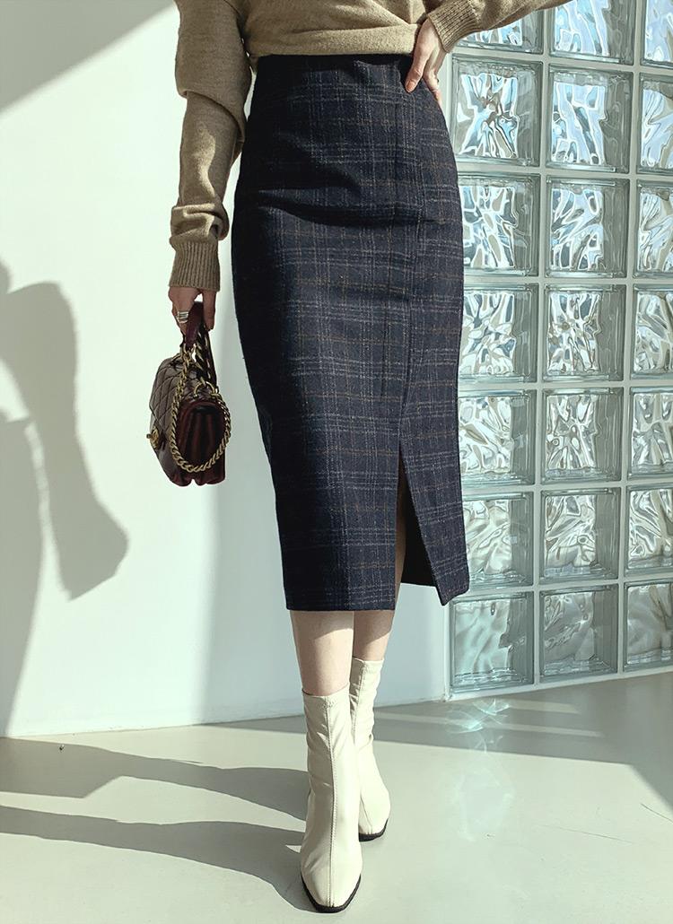 チェックスリットスカート・全2色