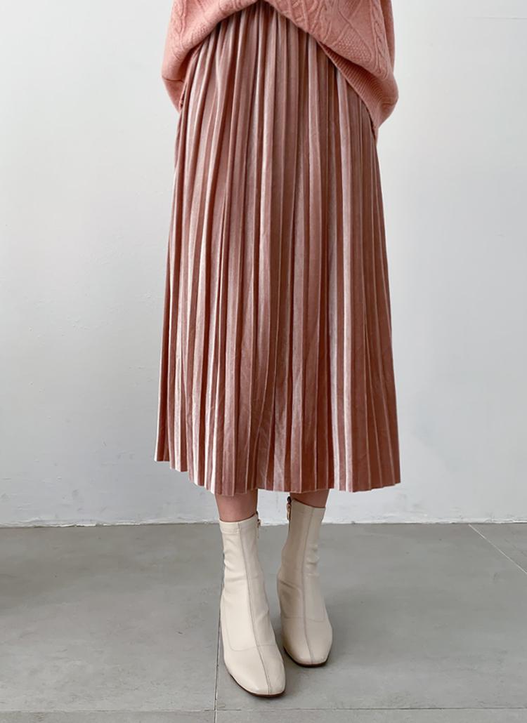 ウエストゴムベロアプリーツスカート