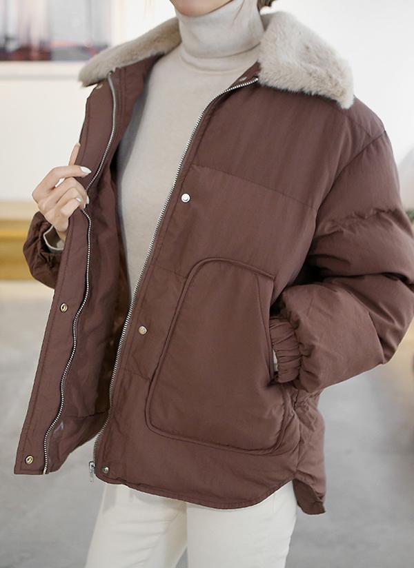 フェイク配色ファーカラー中綿ジャケット