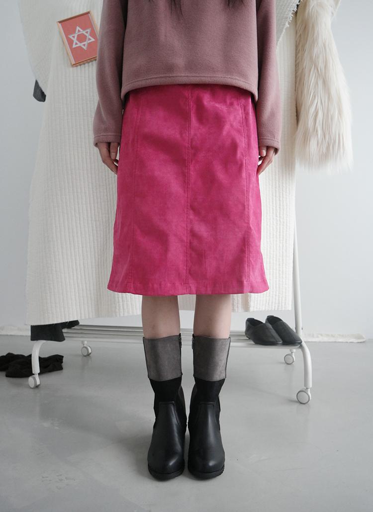 ウエストゴムスエード調スカート