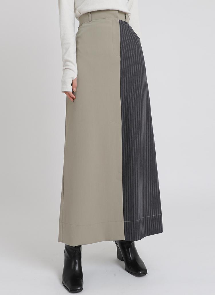 バイカラーロング丈スカート