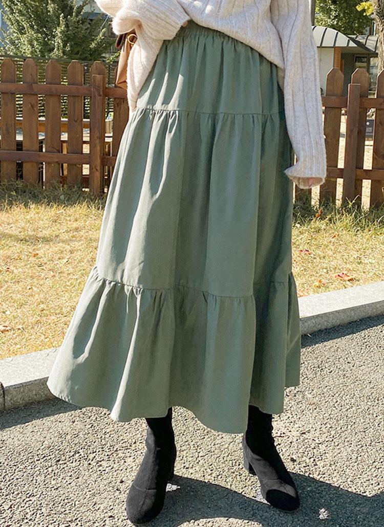 スエード風ティアードロングスカート