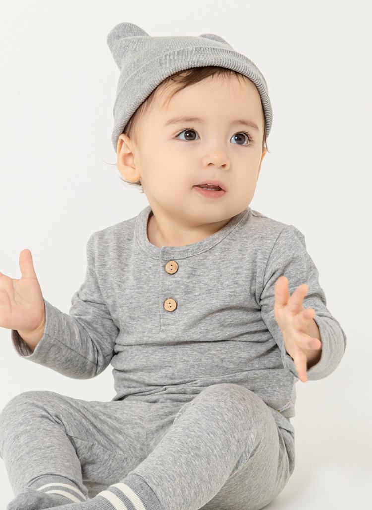 ツーボタン長袖Tシャツ(gray)
