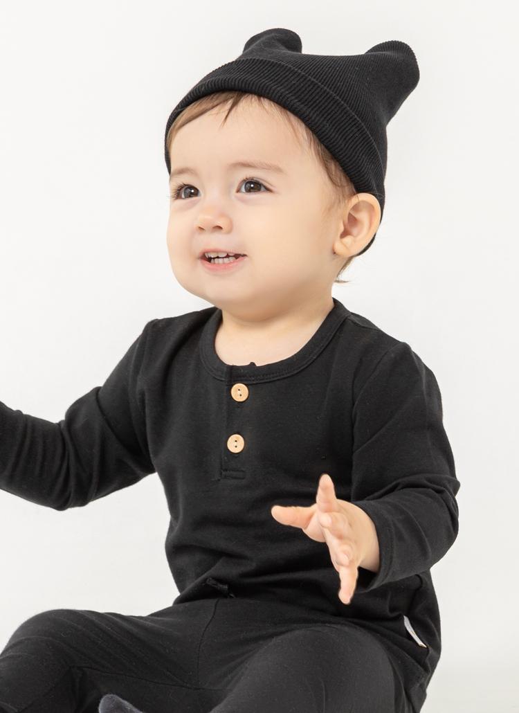 ツーボタン長袖Tシャツ(black)