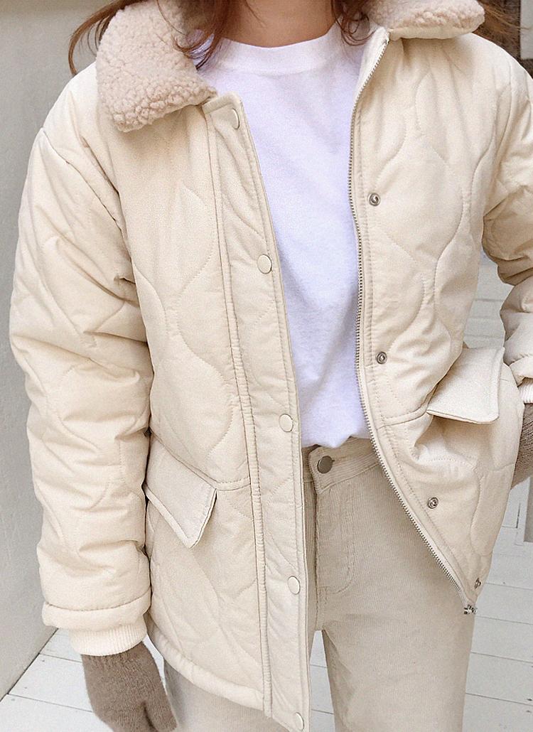 ボアカラーキルティングジャケット