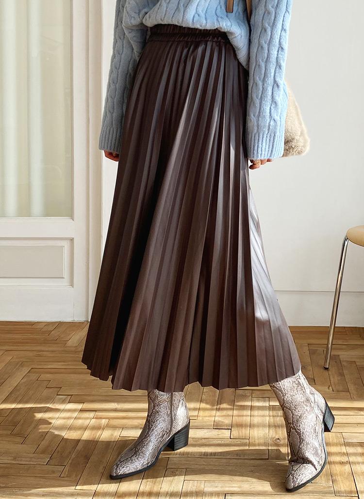 エコレザープリーツスカート・全3色