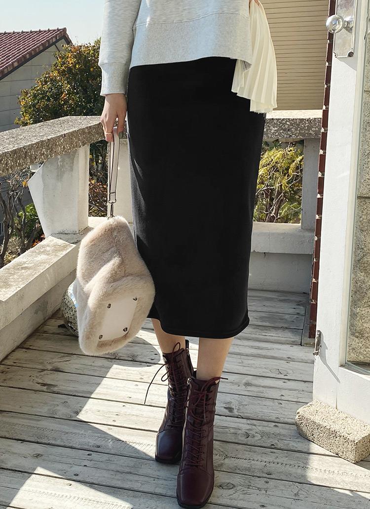 裏起毛リブHラインスカート・全3色