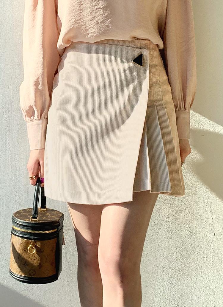 ボタンコーデュロイミニスカート・全2色
