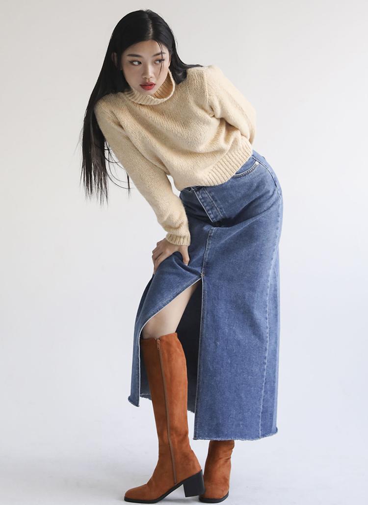 フロントスリットデニムロングスカート