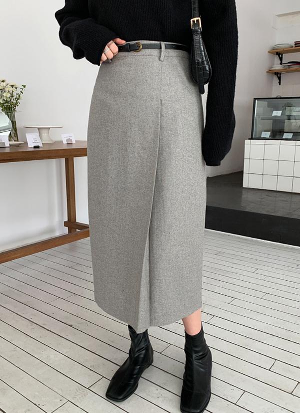 ベルト付ウール混スカート