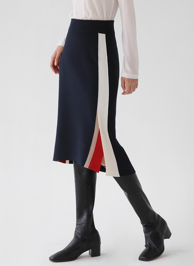 サイド配色スリットスカート