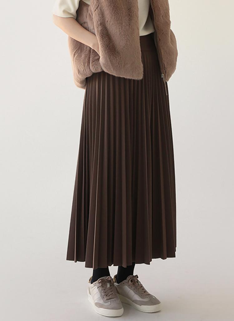 ウエストゴムロングプリーツスカート