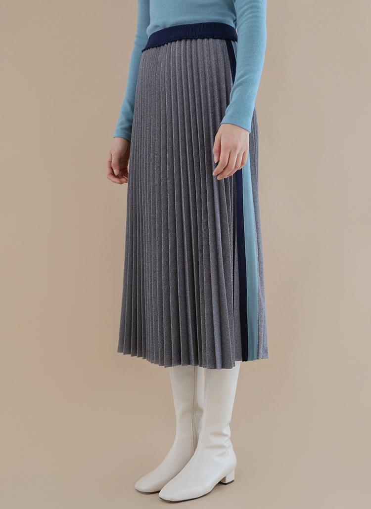 サイド配色ヘリンボーンプリーツスカート