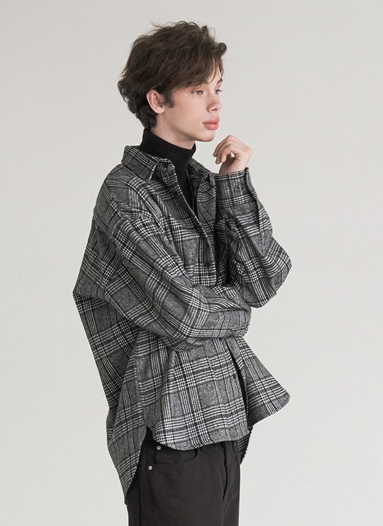 ピーチ起毛アシメヘムチェックシャツ(gray)
