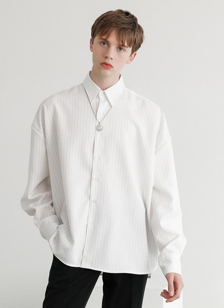 ピンストライプシャツ(White)