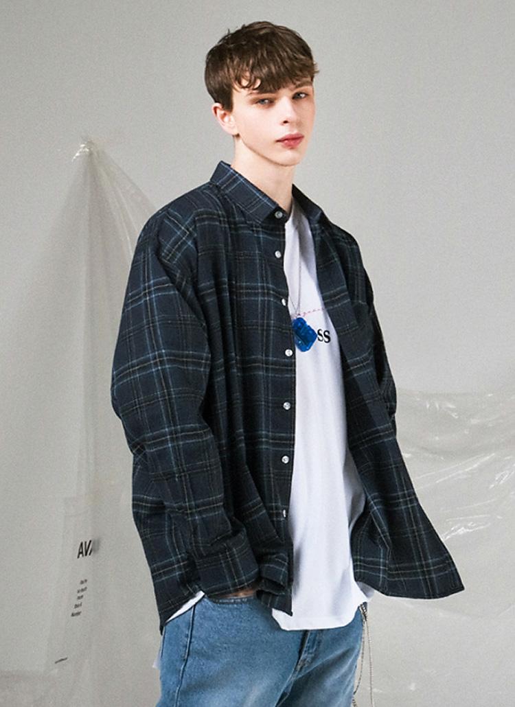 チェックコットンシャツ(BLUE)
