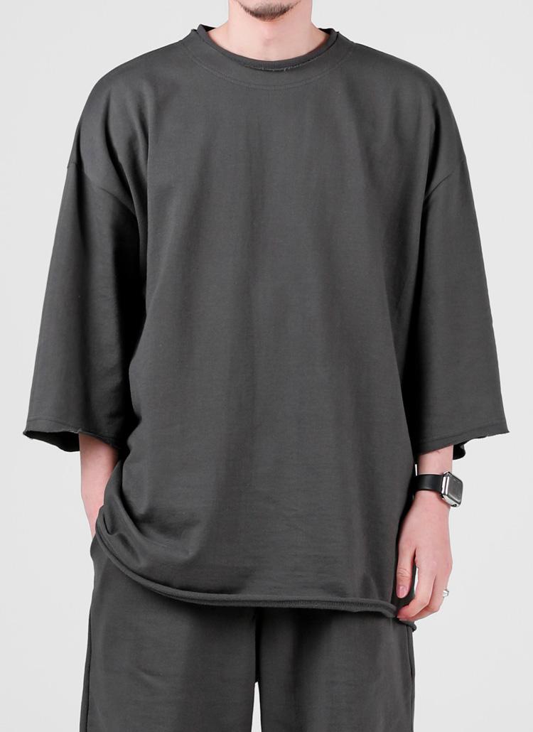 カットオフハーフスリーブTシャツ(CHARCOAL)