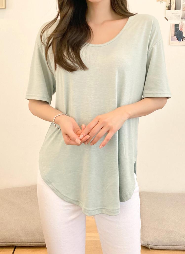 ラウンドヘム半袖Tシャツ