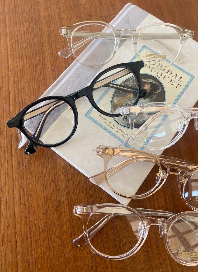 クリアラウンドフレームメガネ・全5色