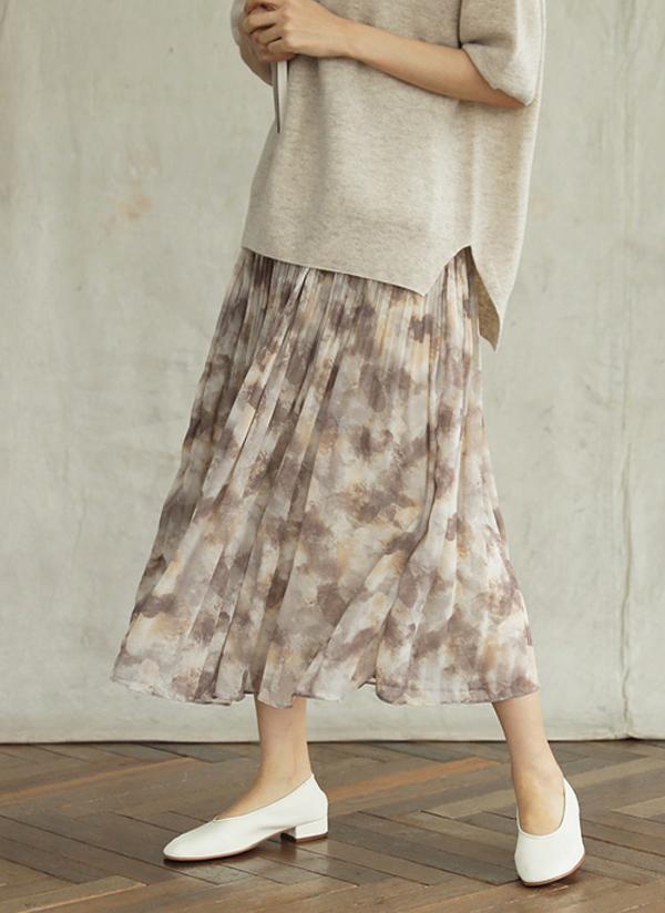 プリーツフレアプリントスカート