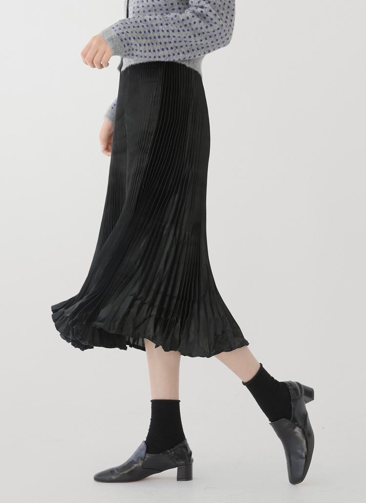 ウエストゴムプリーツフレアスカート