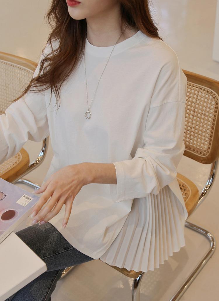 サイドプリーツ長袖Tシャツ