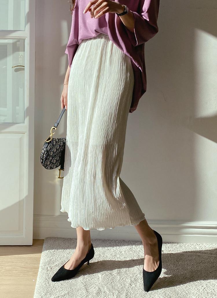 ウエストゴムプリーツスカート・全4色