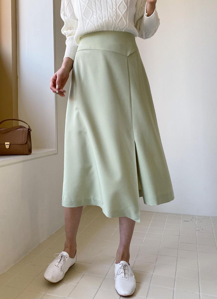 Aラインフロントスリットスカート・全2色