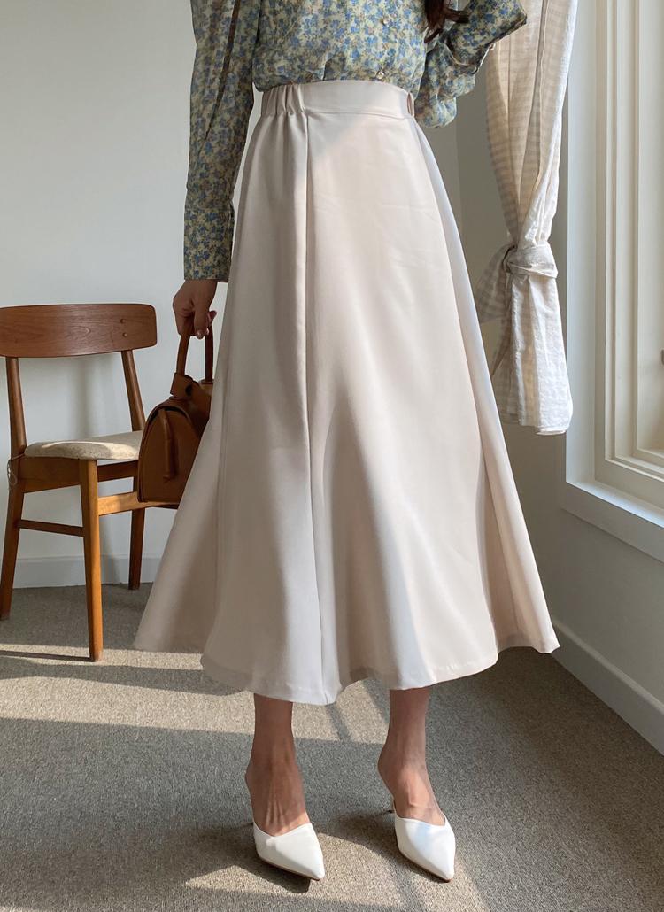 サイドゴムフレアスカート・全3色