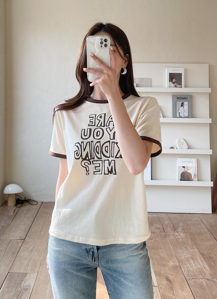 配色レタリング半袖Tシャツ