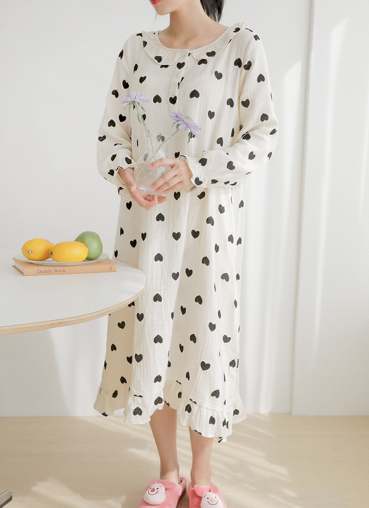ハートパターンワンピースパジャマ