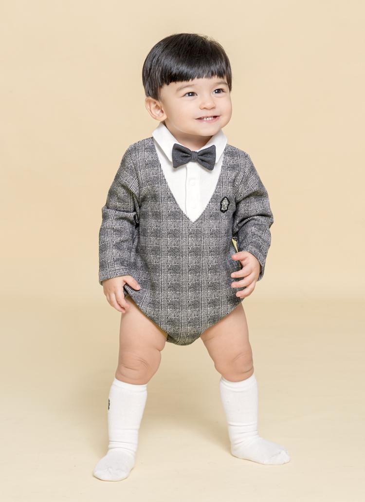 蝶ネクタイ付レイヤードチェックボディスーツ