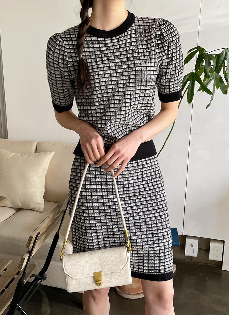 ツイード調半袖ニット&スカートSET・全4色