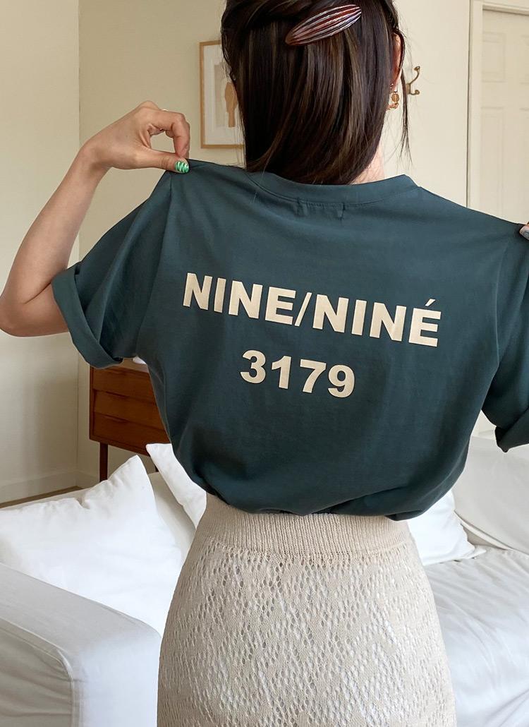 ラウンドバックレタリングTシャツ・全4色