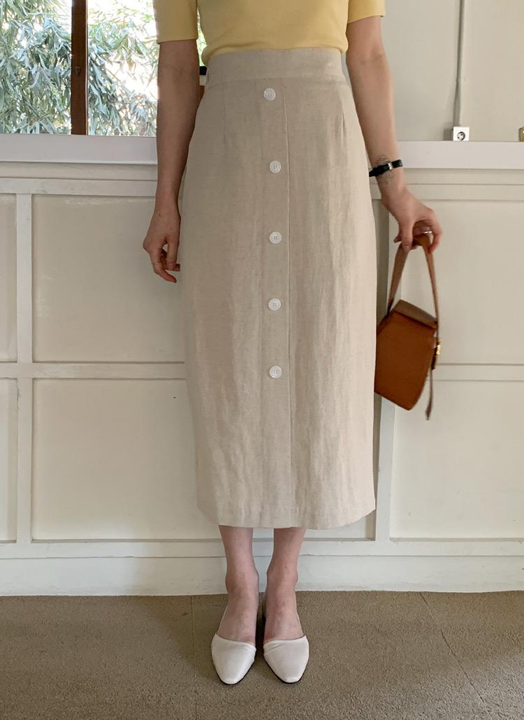 リネン混ボタンスカート・全3色
