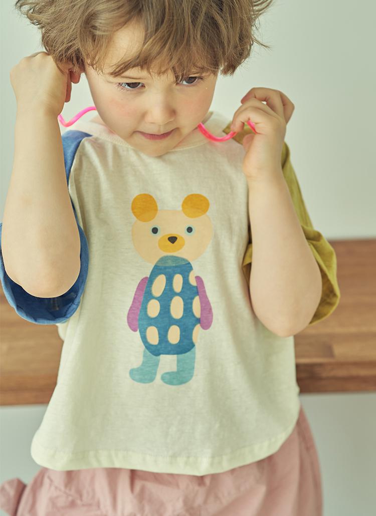 配色プリント半袖Tシャツ