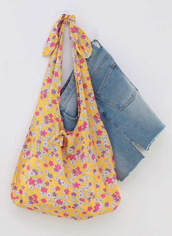 ノットストラップ花柄トートバッグ