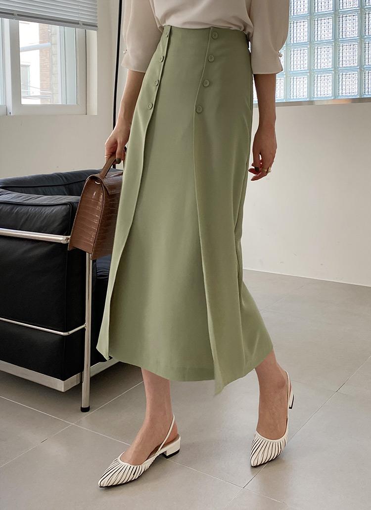 ボタンスリットスカート・全3色