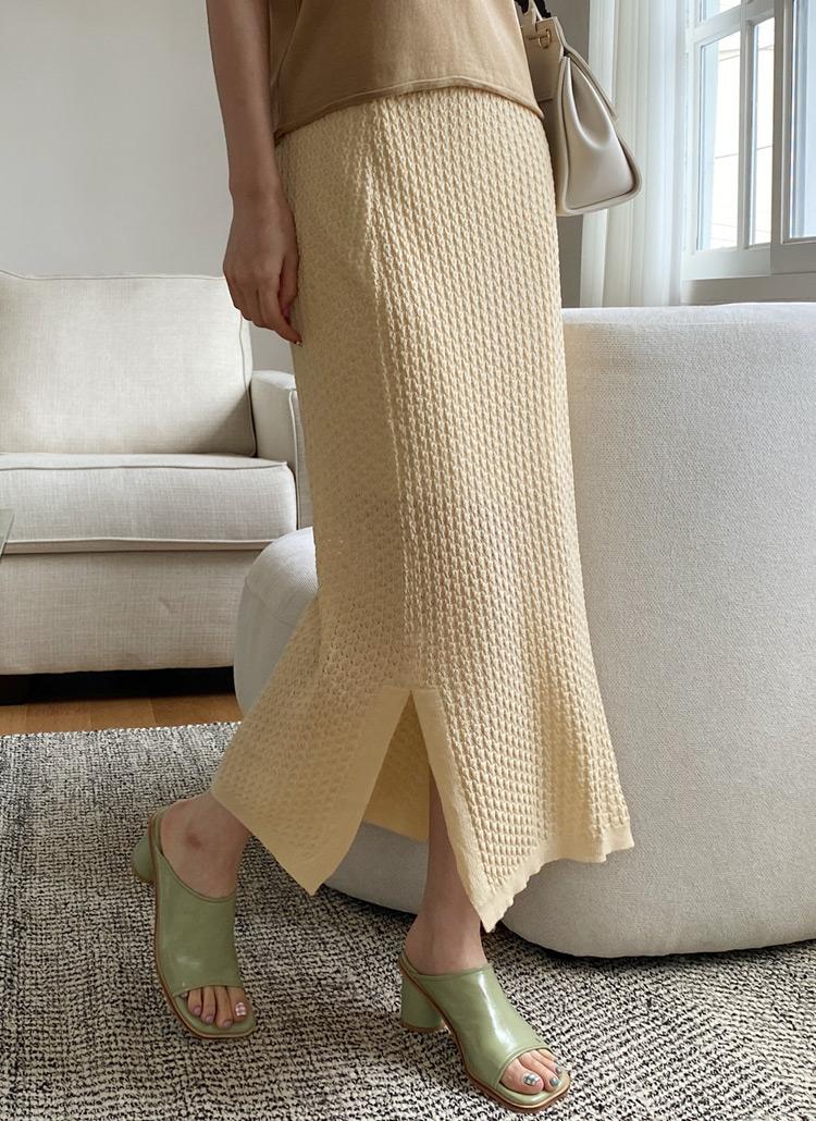テクスチャーニットスカート・全4色