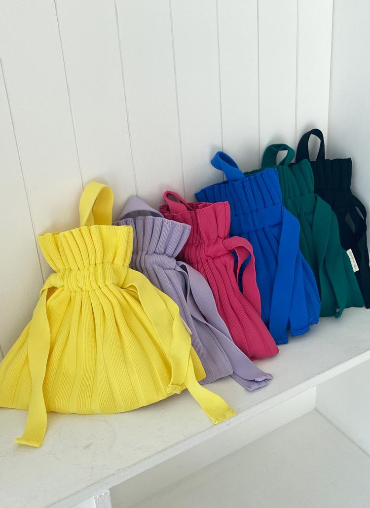 プリーツミニ巾着ニットバッグ・全6色