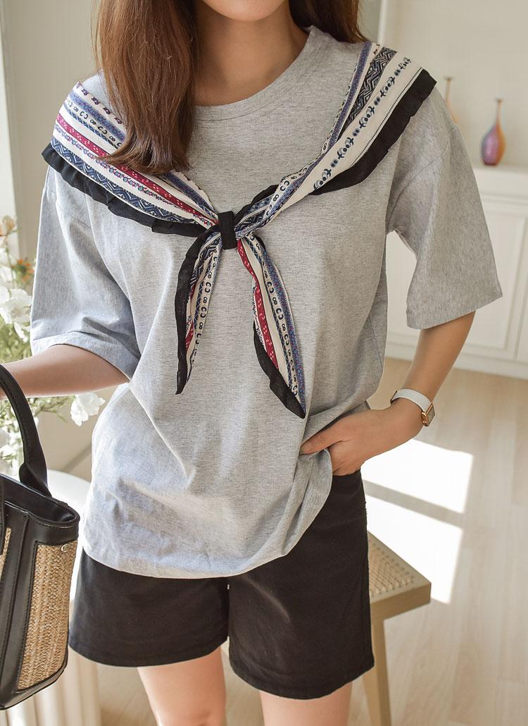 スカーフポイント半袖Tシャツ