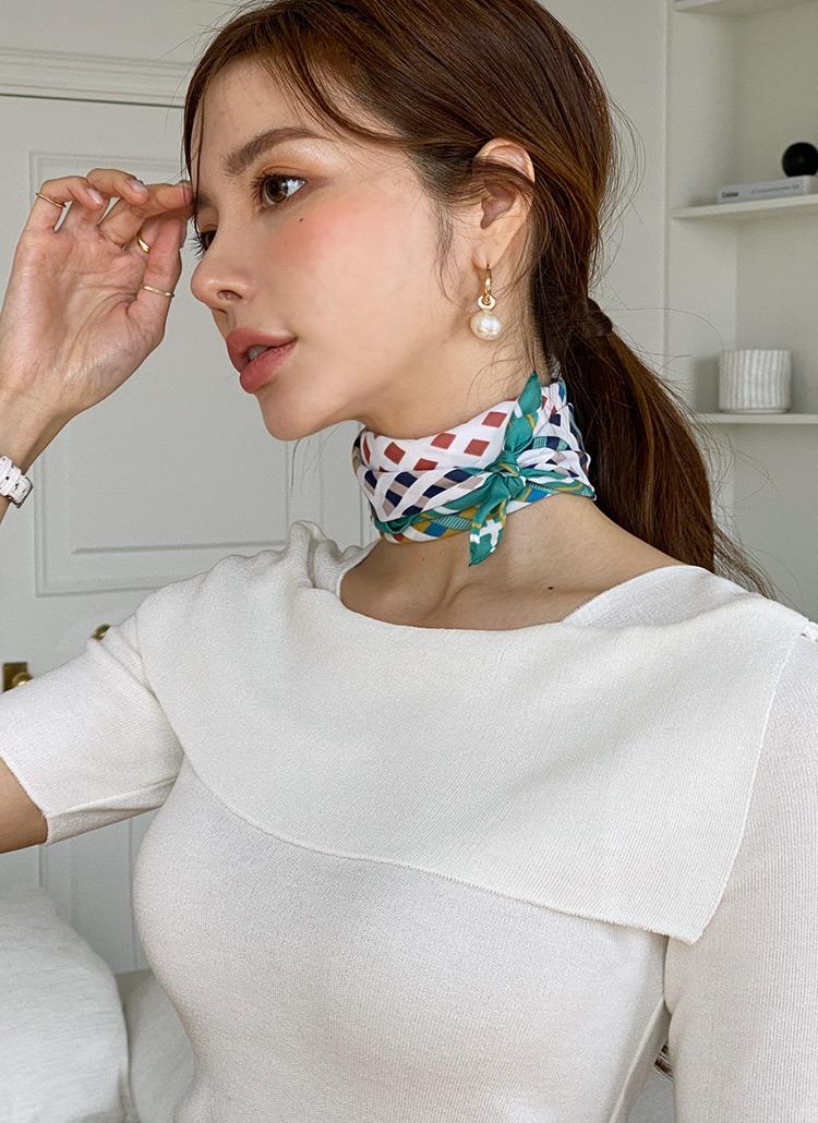 スクエアパターン配色スカーフ・全4色